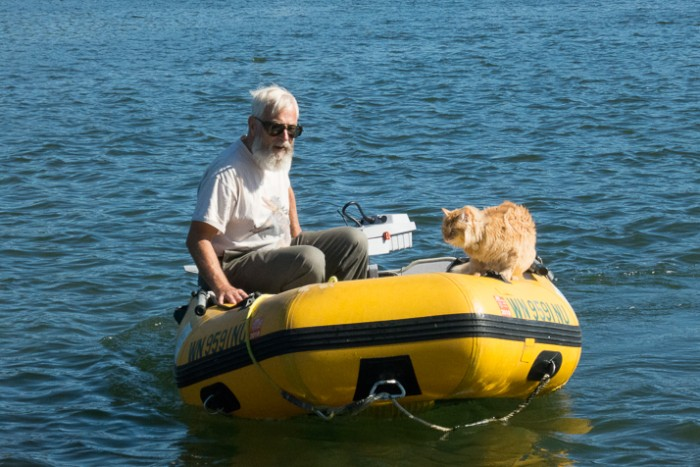 A ride in the dinghy with Steve