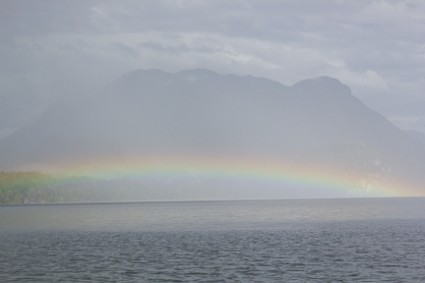 rainbow in fog