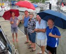 Our farewell committee at Shelter Bay Marina, braving the rain to give us a send off. Reta, Robin, Susie, Andy ( Who should have been on the boat!) and Gert.