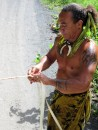 Teiva makes rope from wild Hibiscus.