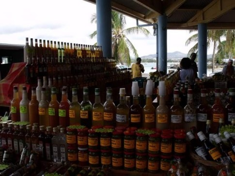 Spices and local rum concoctions for sale in the Sunday market at St Annes.