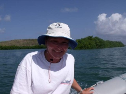 Tamsin Dickinson. Crew on board Elmarleen for the thrid Atlantic Crossing in 2009. Off snorkeling with the Sprucettes at Cul de Sac Anglais - Martinique.