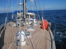 Picture from the bow while motoring in too little wind