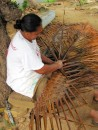 the palm fronds , once they are soaked seemed easy to weave.
