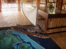 A model of the large Polynesian travelling canoes.