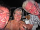 We celebrate with Phil and Norma on Minnie B our safe arrival in the Marquesas