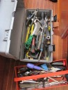 Several boxes of tools, bits and pieces clutter the living space whenever maintenance jobs need to be undertaken.