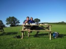 Andy & Sue enjoying a picnic evening meal at the campsite