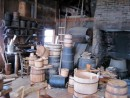 The cooperage. Wet barrels, dry barrels and barrel-style baskets. The most skilled coopers were those who made barrels for storing liquids: leaks not acceptable.