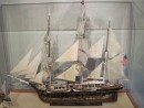 A model of the fully rigged whaling ship, the Charles W. Morgan
