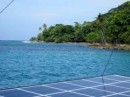 View across one of our solar panels at Sapzurro. Lush tropical vegetation, the rain came later