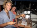 Pedro & Sophie - cutting bait for night fishing