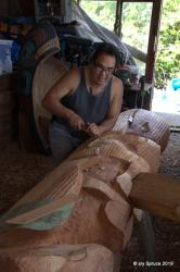 Master Carver Sanford Williams at his workshop in Friendly Cove.