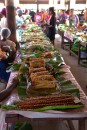 Vanuatan takeway food in the market. All food wrapped in Bananah leaves, no plastic containers here!