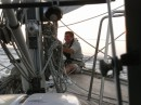 Foredeck work at sea
