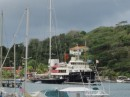Velsheda (J-Class yacht) and support vessel, Bystander, in Port Louis Marina, St Georges
