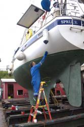 Andy cleaning the hull
