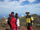Sue, Carolyn and Mark with Observatories in the background