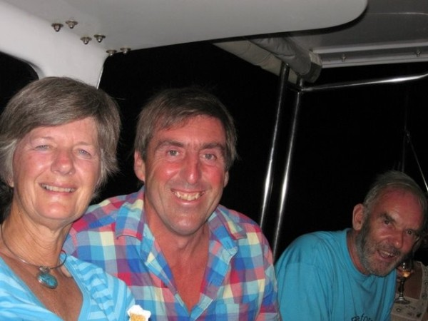 Susie (True Blue), Andy (Spruce), Robin (Flapjack) - arrival celebrations aboard True Blue on the day Flapjack dropped anchor in Prickly Bay