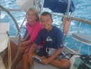 Valeire and John enjoying the sail over to Culebrita
