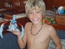 John below working on his Bionicle that J and J brought!