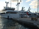 The mega yachts in St Barts