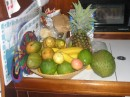Our fruit basket runneth over! Mangos, passion fruit, soursop and more..JPG