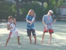 Tennis time...Luke showed Daniel and John how much fun the game can be