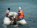 Menno helps Nick teach the sailing class. He drives the rescue dinghy.JPG