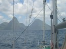 Eira approaching the Pitons in southern St Lucia.JPG