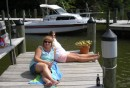 Jeanette and Suzanne relaxing on the dock.JPG