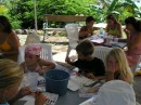 c Art class was held at Whisper Cove - Leia, John and Sarah painting with water colors.JPG