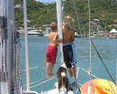 h John, Daniel and Daisy keeping a lookout on our arrival into Clifton Harbour, Union Island.JPG