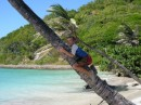 f John climbing a coconut tree to get a coconut for us.JPG