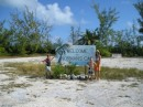 The sign at the airstrip on Normans Cay