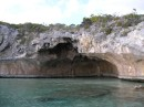 A natural cave at Rudder Cut Cay