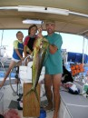 Menno caught the first Mahi-Mahi of the day while under sail in the Exuma Sound on our way to Georgetown.