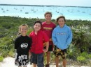John, David (Contented Turtle), Kelby (Quixodic) and Daniel on Stocking Island in Georgetown, The Bahamas.