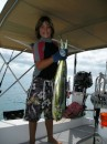 Daniel brings in the third Mahi-Mahi! Mom says it is time to stop fishing!