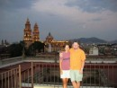 Morelia - View of the cathedral from atop our hotel roof. Thanks to the Turners for taking this picture of us.