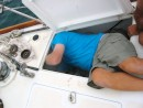 I love boatwork - The rule with boat work is that you can see the part you need to work on or you can touch it but never both at the same time. Add in the factor that you must contort your body into the smallest of spaces makes boat work the least favorite aspect of our adventure.