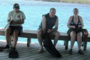 Barefoot Marina - Kent, Dane and Steph prep for snorkeling in the protected reef around the marina and resport.