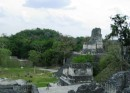 Tikal - Grand Plaza and Temple II (Temple of the Masks) as seen from the North Acropolis.