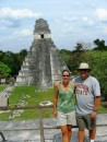 Tikal Grand Plaza - We are atop Temple II (Temple of the Masks) looking towards  looking towards Temple II (Great Jaguar).