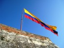 Cartagena – Columbian flag. Gold for the minerals in the ground, blue for the waters and red for the blood that has been shed. Or at least that is what we have been told.