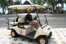 San Andres Island - Driver Kent in our golf cart. We toured the entire island in about 4 hours.