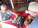 Cartagena - Kent gets beat by a local named Alvaro. This guy will beat anyone at table tennis, pool, and chess at Club Nautico! He is a kick!