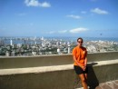Cartagena skyline - You can make out the sailboats anchored in the bay behind Heather.