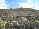 Machu Picchu. Argricultural terraces, looking up shows the steepness.