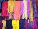 Naturally dyed llama wool. The indiginous people make some absolutely beautiful clothing and textiles made from llama and alpacas by hand.